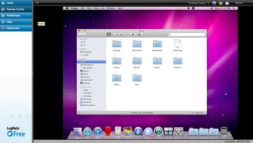 LogMeIn desktop view
