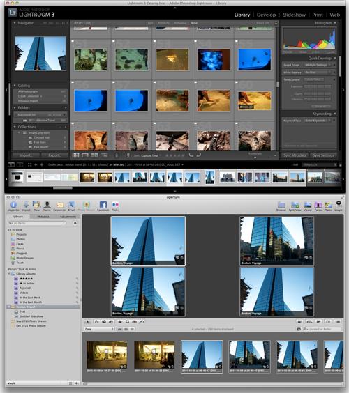 Lightroom (Top) versus Aperture (Bottom) full screen view