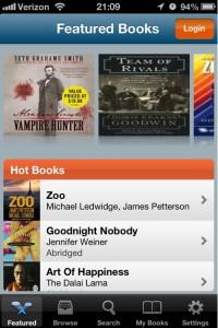 Audiobooks screenshot of Hot Books list