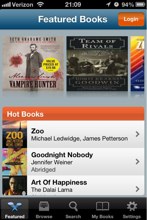 Audiobooks screenshot of Hot Books list