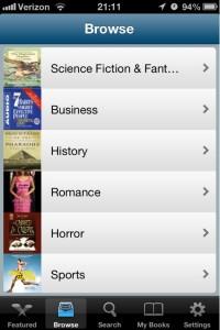 Audiobooks screenshot of genres browsing list