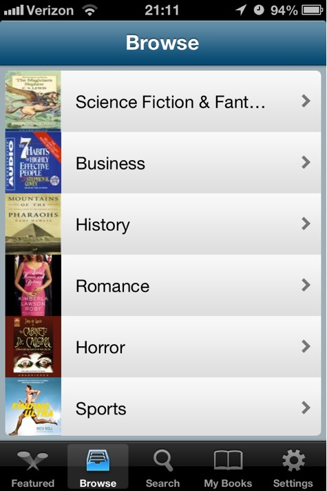 Audiobooks screenshot of genres browsing list