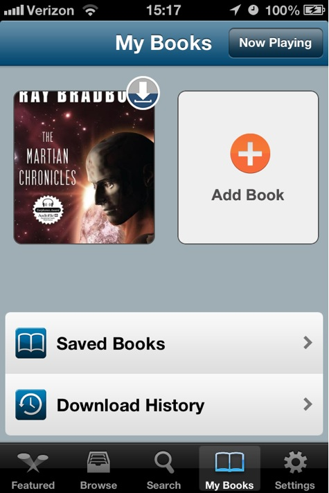Audiobooks screenshot of My Books list