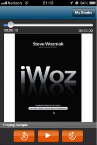 Audiobooks screenshot of book playback featuring iWoz book