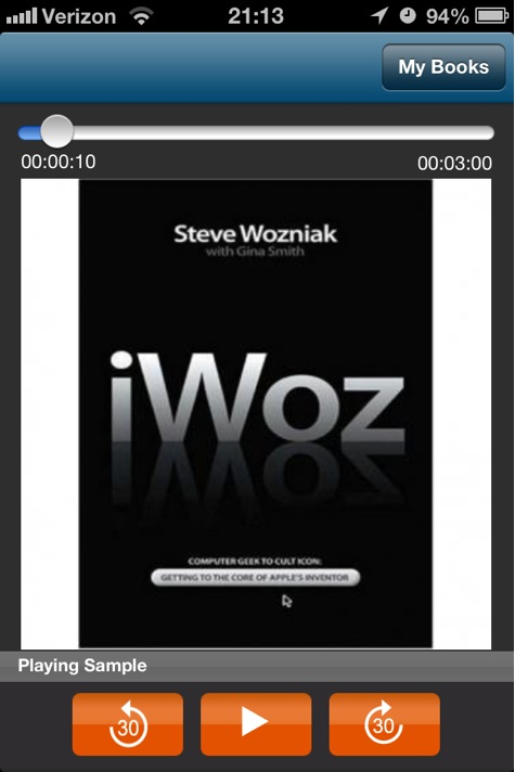 Audiobooks screenshot of book playback featuring iWoz book