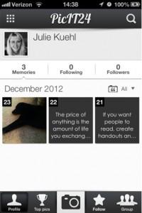 PicIT24 screenshot showing user's summary screen