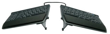Kinesis Freestyle2 keyboard separated with wrist rests and tenting