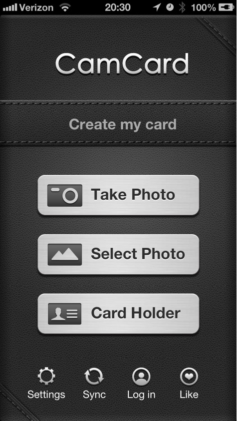 CamCard home screen