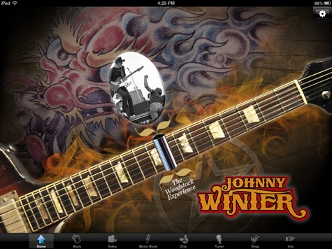 Johnny Winter app home screen