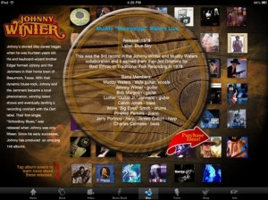 Johnny Winter app albums screen