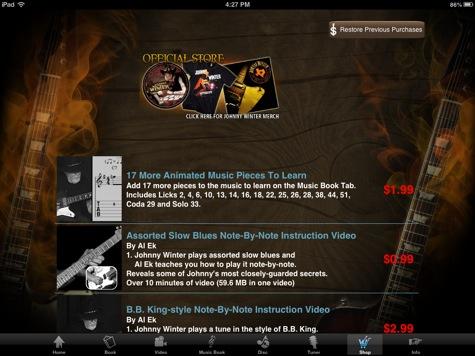 Johnny Winter app in-app purchase screen