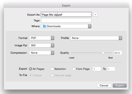 The Export dialogue box