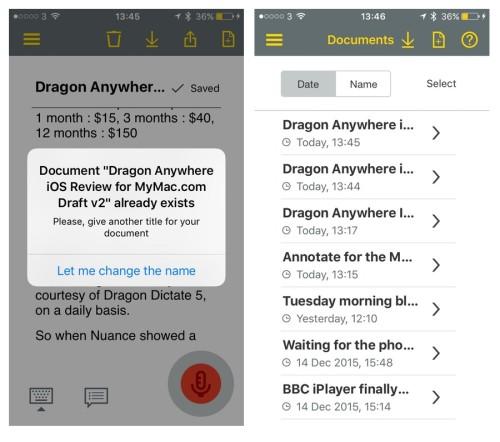 Dragon Anywhere Document Handling