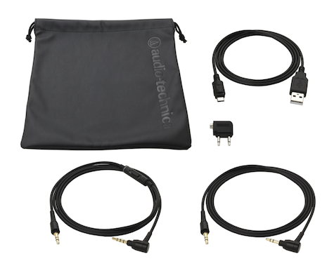 ATH noice cancel cables and bag