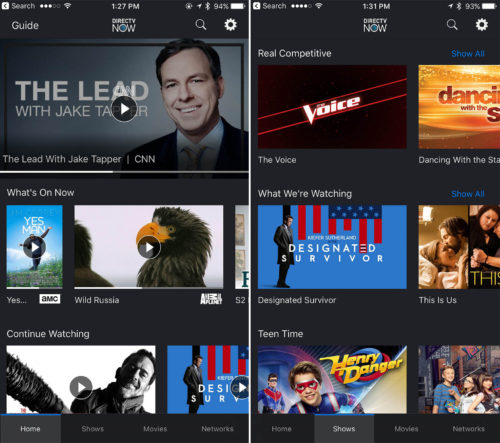 DIRECTV Now iOS App Home and Shows Views as seen on the iPhone